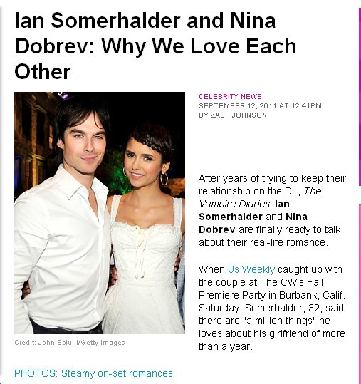 Ian somerhalder and nina dobrev interview about dating and relationships