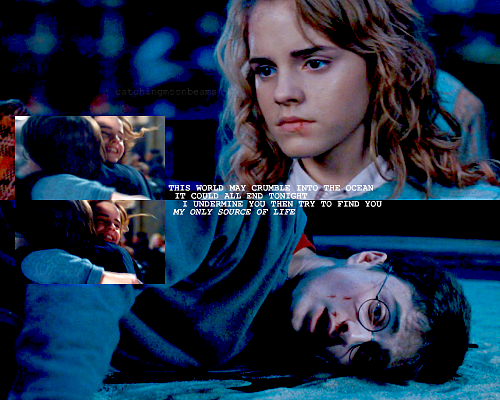 Harry and Hermione wallpaper probably with a sign and a portrait called Only you.