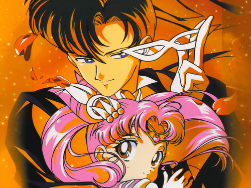 Sailor Chibi moon and Tuxedo mask