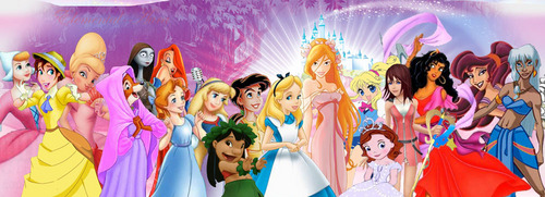 Disney Extended Princess karatasi la kupamba ukuta probably containing a parasol called They're Princesses in our eyes