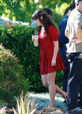 Zooey Deschanel - on the set of The New Girl