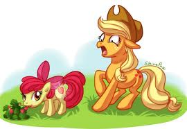 applebloom eating strawberries,getting a клубника cutie mark.apple jack is horrified
