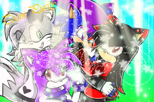 Sonic Fan Characters wallpaper probably containing anime entitled team purity: Danny, Sky, Jordan & Dana [Gift]