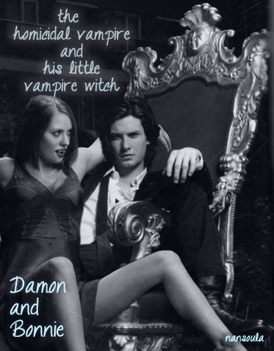 Damon & Bonnie wallpaper entitled the homicidal vampire and his little vampire witch...