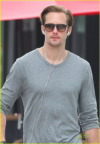 Alexander Skarsgård wallpaper containing sunglasses entitled Alexander Skarsgard: My Grandma Loves Her Liquor!