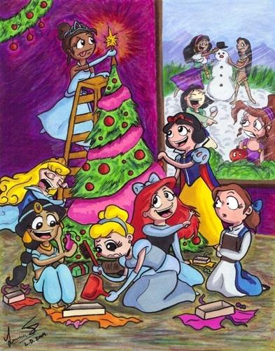 Диснеевские принцессы Обои containing Аниме titled Дисней x-mas (: