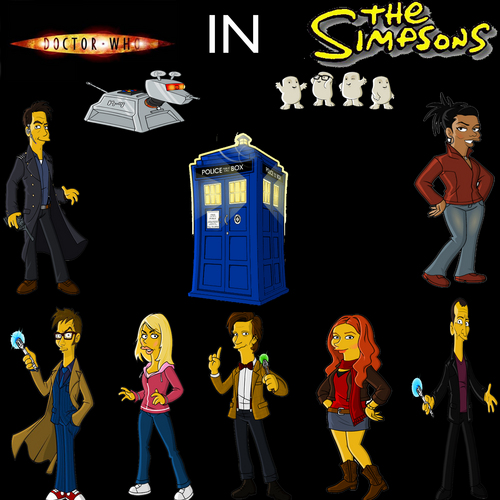 Doctor Who karatasi la kupamba ukuta possibly containing anime called Doctor Who Simpsons
