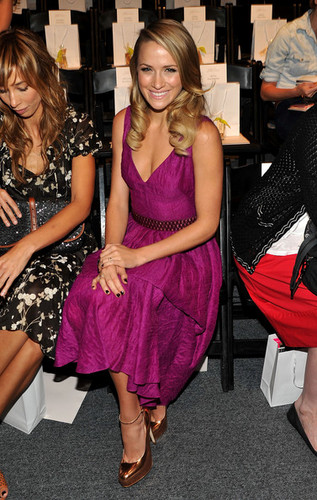 Shantel VanSanten wallpaper possibly containing a cocktail dress, a bridesmaid, and a dinner dress entitled Lela Rose - Front Row - Spring 2012 Mercedes-Benz Fashion Week