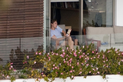 Leo on his balcony in Sydney studying his lines
