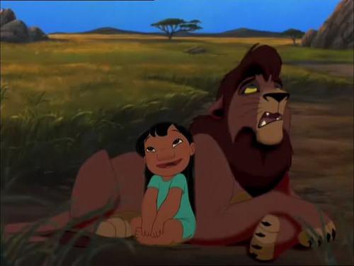 Disney crossover karatasi la kupamba ukuta titled Lilo and Kovu