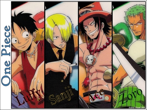 One Piece karatasi la kupamba ukuta containing anime called Luffy, Zoro, Sanji & Ace
