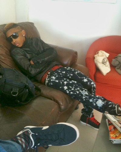 Prod fell asleep during the VEVO Shoot!! :D Swagged out though, as always!!