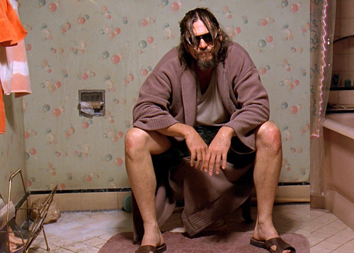 Movies wallpaper possibly containing a well dressed person, a sign, and an outerwear titled The Big Lebowski