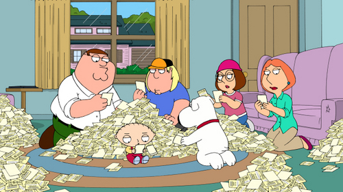 Family Guy wallpaper containing anime titled The Lottery Ticket Pile