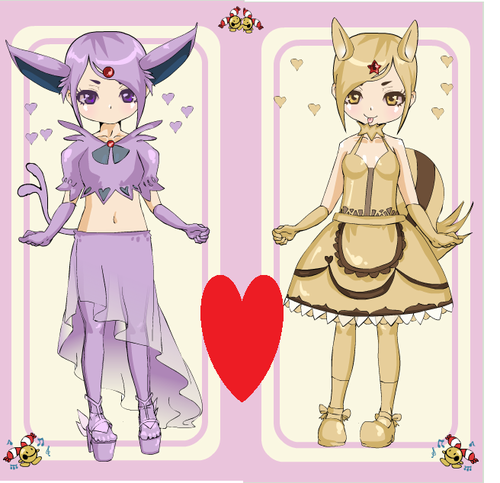 swinubb and espeon as humans