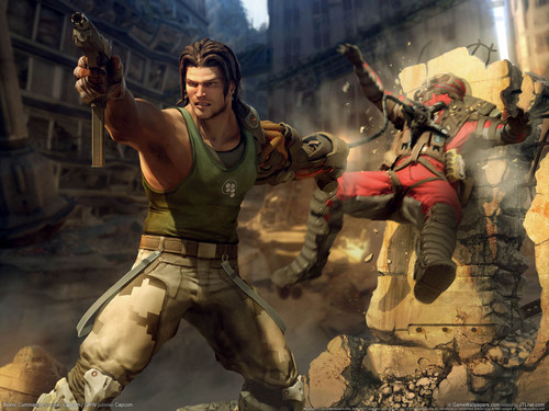 Video Games پیپر وال containing a rifleman, a navy seal, and a green beret کے, باریٹ titled Bionic Commando