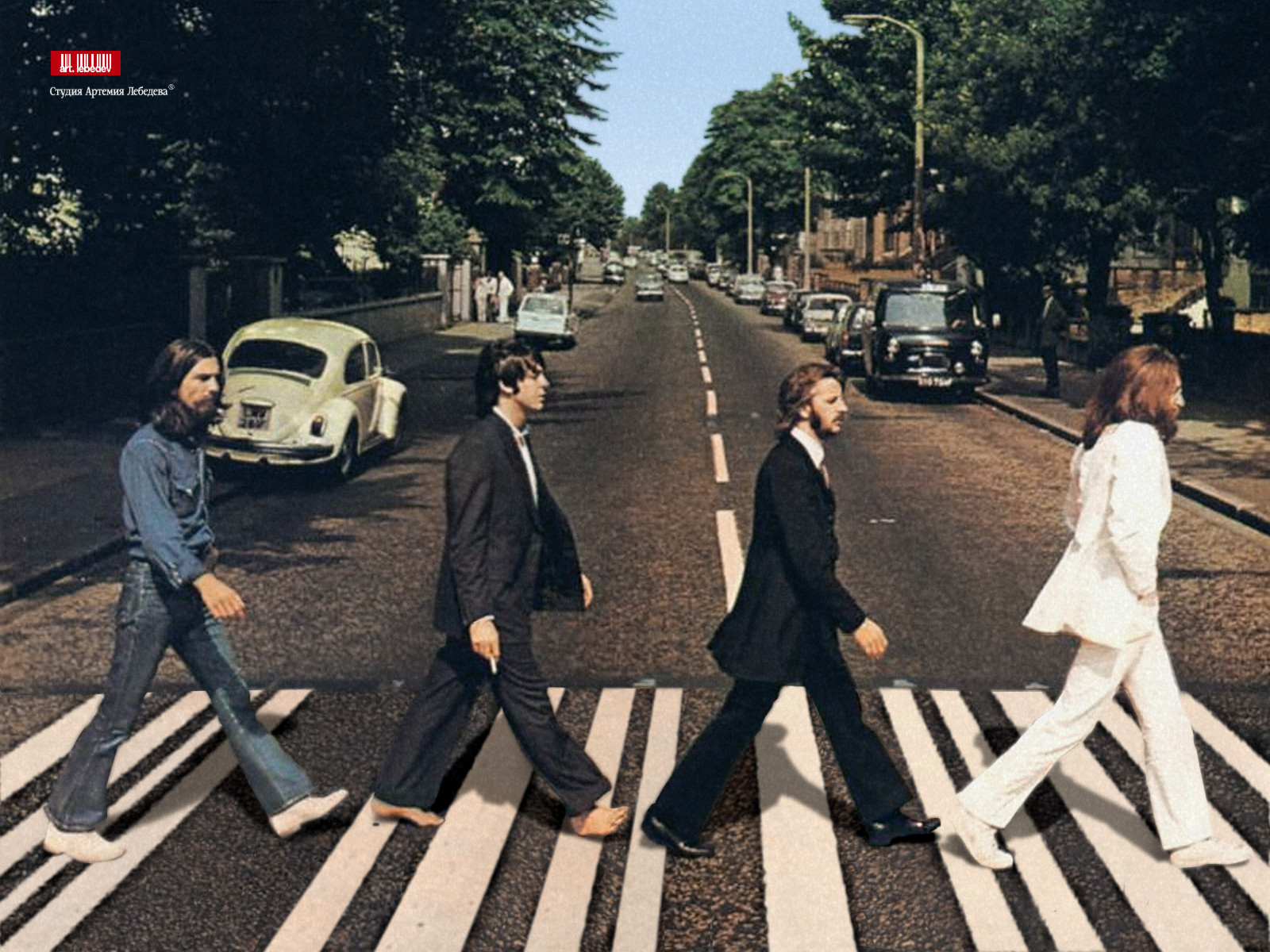 La Gran Foto De Los Beatles Abbey Road on cardboard laser lights