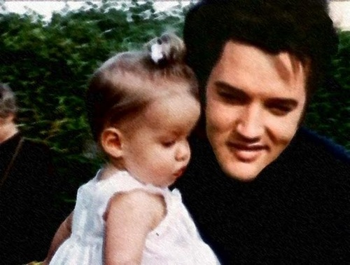 Elvis Aaron e Lisa Marie Presley wallpaper with a portrait titled Elvis & Lisa