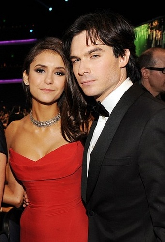 Ian Somerhalder and Nina Dobrev wallpaper containing a business suit entitled Ian/Nina @Emmys ღ