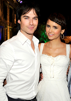 Ian Somerhalder and Nina Dobrev wallpaper probably containing a bridesmaid entitled Ian&Nina