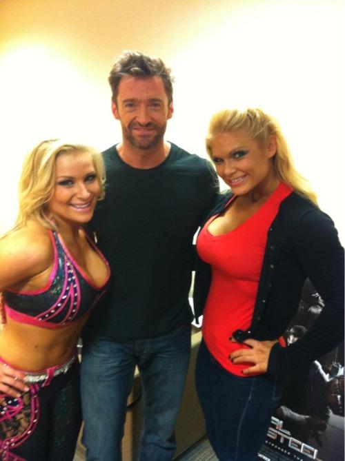 Natalya And Beth Phoenix With Hugh Jackman