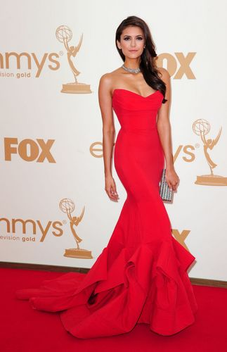 Nina Dobrev wallpaper containing a gown, a dinner dress, and a bridal gown titled Nina at the 63rd Emmy Awards
