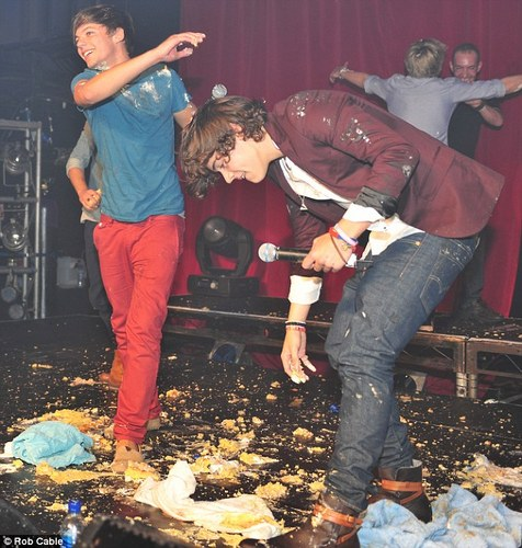 One Direction Food Fight on stage at G.A.Y!