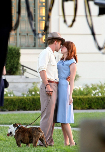 "Ryan papera, gosling and Emma Stone on location filming ""The Gangster Squad""."