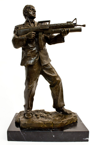Scarface wallpaper with a rifleman, a green beret, and a navy seal called Scarface limited edition sculpture!