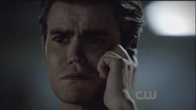 Stefan listening to Elena for him to stay strong in 3.01