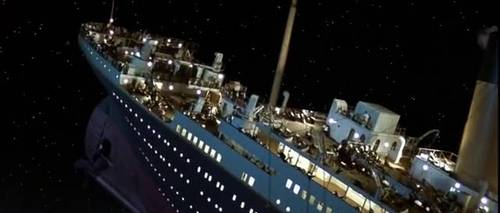 titanic rising into the air.