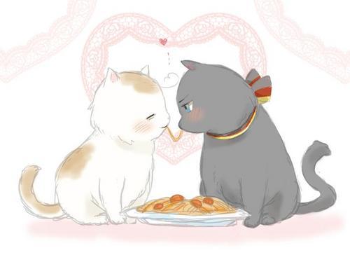 Two মার্জার enjoying a pasta~