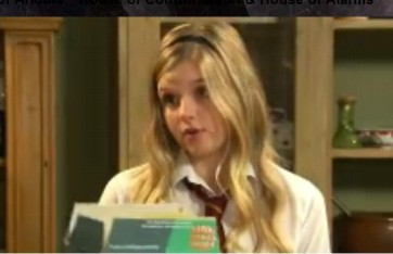 The House of Anubis wallpaper with a portrait titled amber and a box of cereal