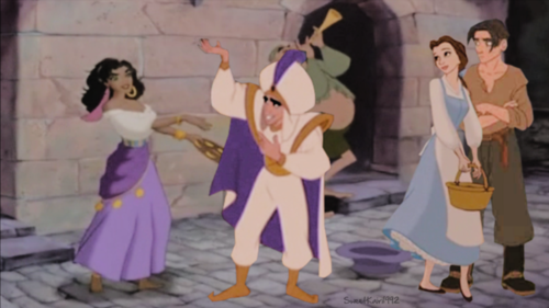 esmeralda, belle, Aladin and jim