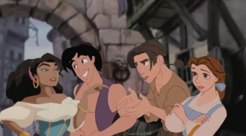 jim, aladdin, belle and esmeralda