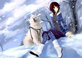 anime girl with dog