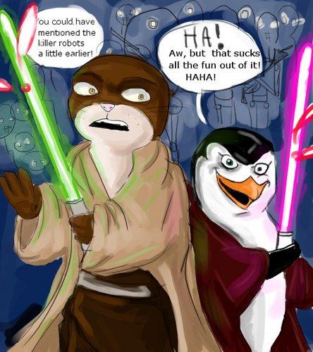 Brandon de otter and Rose the Jedipenguin