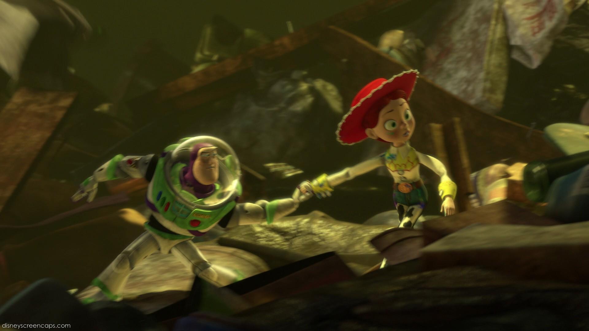 Buzz holds Jessie's hand