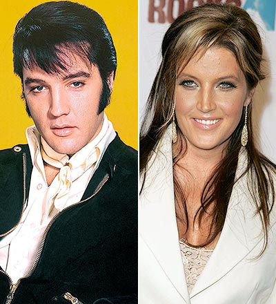 Elvis Aaron Presley and Lisa Marie Presley wallpaper possibly containing a well dressed person, a business suit, and a portrait titled Elvis & Lisa