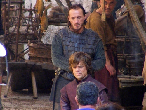 Game of Thrones- Season 2- Tyrion and Bronn on set