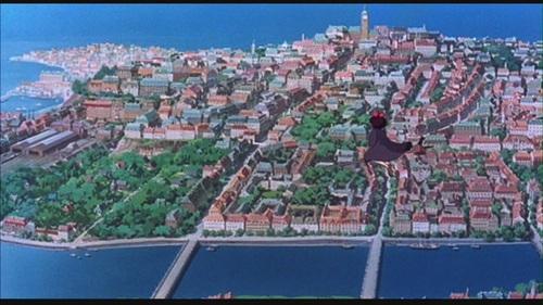 Hayao Miyazaki fondo de pantalla containing a business district entitled Kiki's Delivery Service