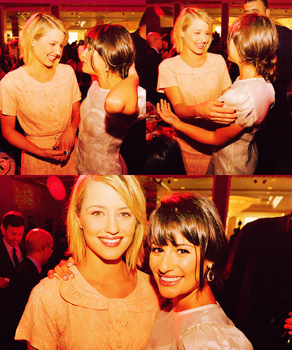 Lea Michele and Dianna Agron wallpaper probably with a bridesmaid, a brasserie, and a portrait called Lea&Dianna;