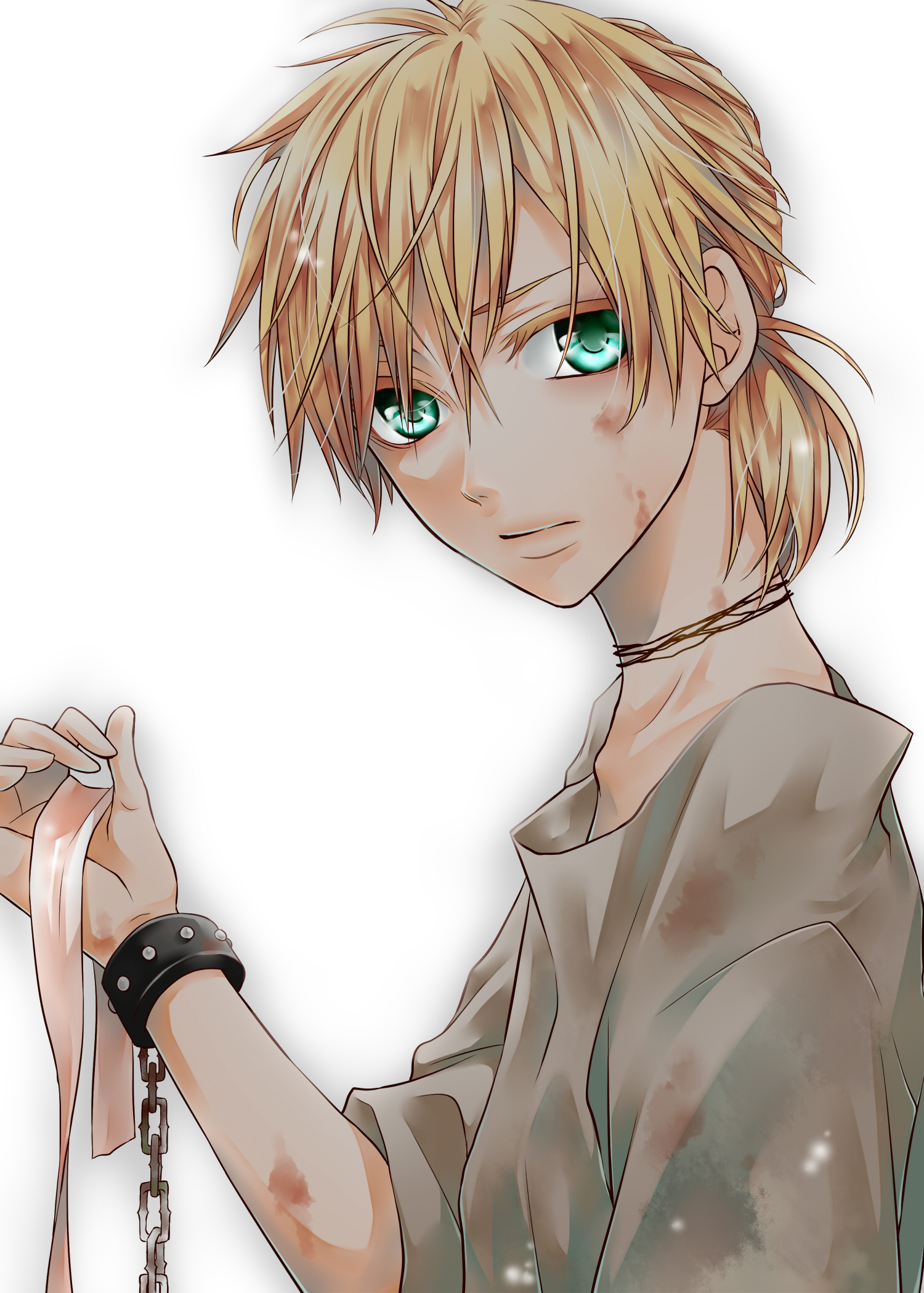 Anime boy with blonde hair and blue eyes