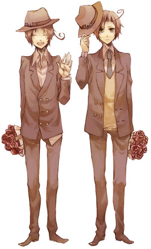 Hetalia Italy karatasi la kupamba ukuta probably containing a fedora, a business suit, and a boater called Looking good wewe two~