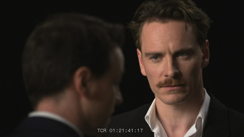 James McAvoy and Michael Fassbender wolpeyper with a business suit, a suit, and a three piece suit titled Michael's screen test!