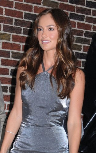 "Minka Kelly out promoting ""Charlie's Angels"" at the ""Late tampil with David Letterman"" (September 21)."