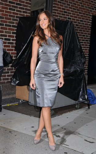 "Minka Kelly out promoting ""Charlie's Angels"" at the ""Late toon with David Letterman"" (September 21)."