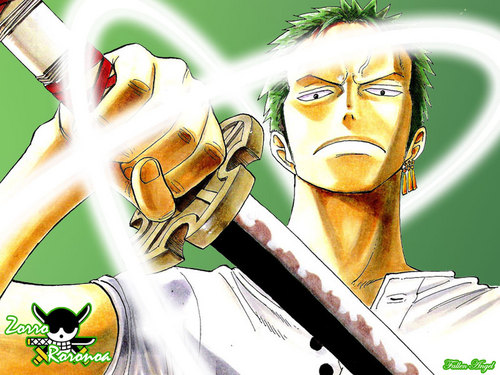 One Piece kertas dinding with a chainlink fence called Roronoa Zoro