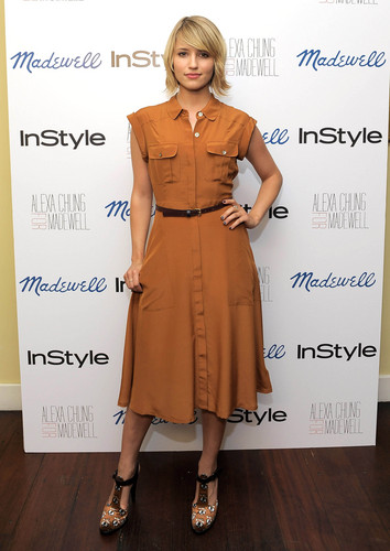 Dianna Agron wallpaper possibly with a trench coat titled September 21: Alexa Chung For Madewell Fall Collection Launch