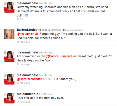 欢乐合唱团 壁纸 called Barbra Streisand tweets Lea!